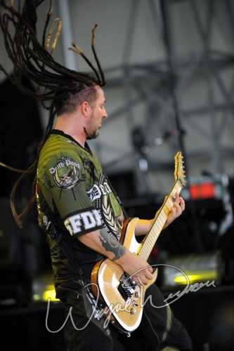 Live concert photography of Five Finger Death Punch at Riverbend Music Center in Cincinnati, OH by Wayne Dennon © Dennon Photography