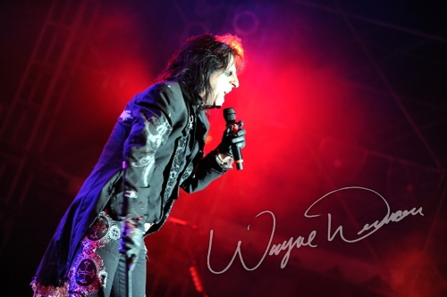 Live concert photography of Alice Cooper at Rock the Bayou grounds in Houston, TX by Wayne Dennon © Dennon Photography