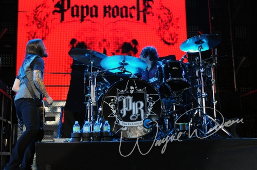 Live concert photography of Papa Roach at Riverbend Music Center in Cincinnati, OH by Wayne Dennon © Dennon Photography