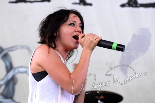 Live concert photography of Flyleaf at Verizon Wireless Music Center in Noblesville, IN by Wayne Dennon © Dennon Photography